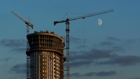 Skyscraper And Cranes At Work stock footage