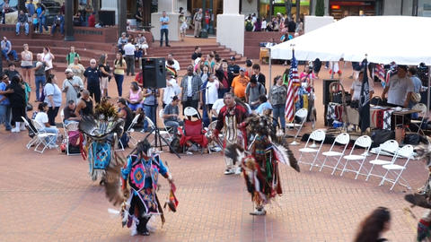 American Indian tribe dance, Portland, USA Stock Video Footage