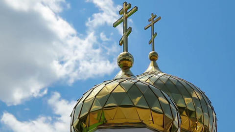 Orthodox Church domes timelapse Stock Video Footage