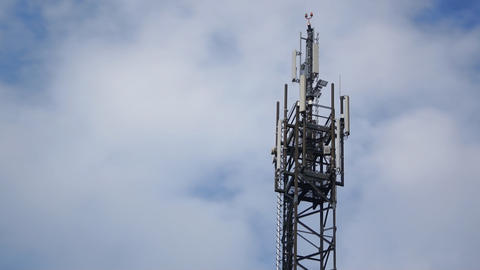 Cellular Antenna Mast And Clouds Stock Video Footage