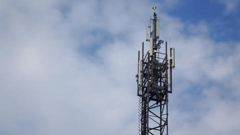 Cellular Antenna Mast And Clouds stock footage