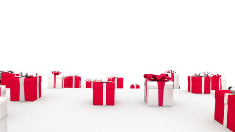 Endless gifts. Red & white boxes. (loop) Stock Video Footage