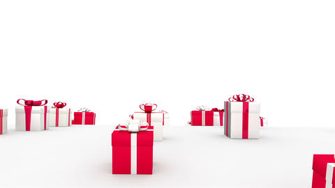 Endless gifts. Red & white boxes. (loop) Animation