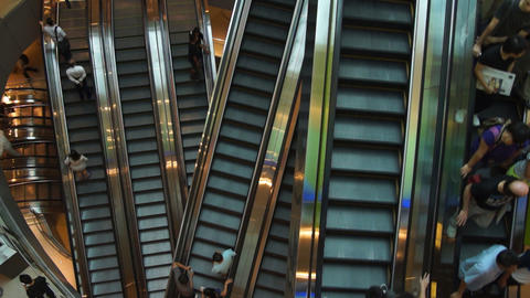 Escalators In Shopping Center Stock Video Footage