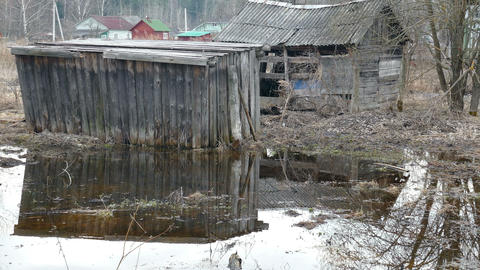 Old Village House Flooded in The Spring Footage
