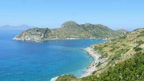 majestic empty turquoise beach, high angle view, knidos, datca, turkey Footage