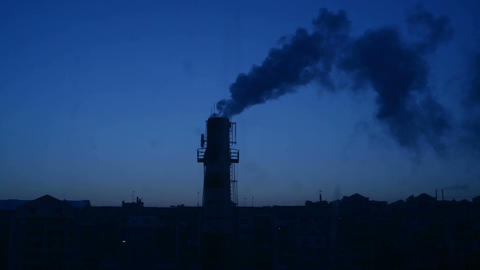 Factory Chimney and Smoke Image