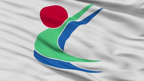 Closeup Toon city flag, prefecture Ehime, Japan Animation