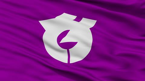 Closeup Yachiyo city flag, prefecture Chiba, Japan Animation