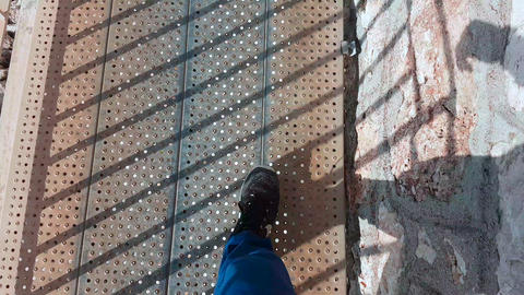 POV Point Of View Along Legs Of Man Walking In Nike Running Shoes Live Action
