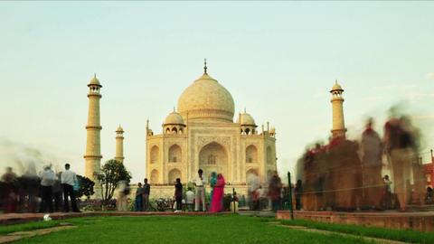 Timelapse of tourist activity inside Taj Mahal in Agra, India Footage
