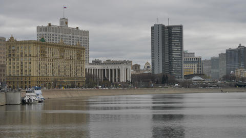 Russia Moscow Center City View on River, Bridge and Building of the Government Live Action