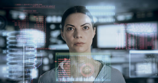 Woman analyzing data in a high tech workplace Live Action