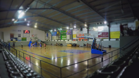 Basketball Match Miniature Tilt ShiftFHD30 Stock Video Footage