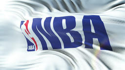 NBA flag waving on sun. Seamless loop with highly detailed fabric texture Animation