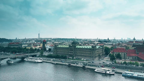 PRAGUE, CZECH REPUBLIC - MAY 3, 2018. Aerial view of the Ministry of Industry Footage