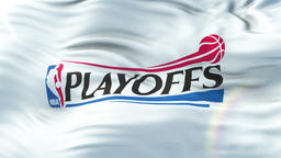 NBA PLAYOFF flag waving. Seamless loop with highly detailed fabric texture Animation