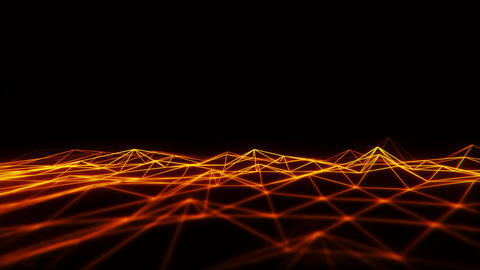3D Orange Gold Wireframe Grid Landscape Graphic Element Loopable Animation