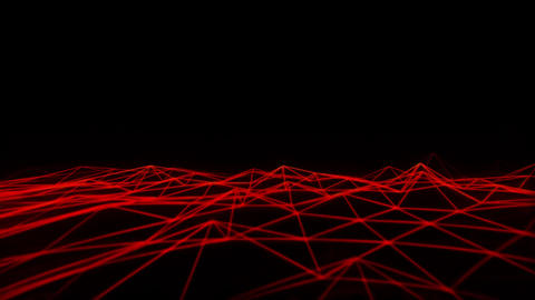 3D Red Wireframe Grid Landscape Graphic Element Loopable Animation