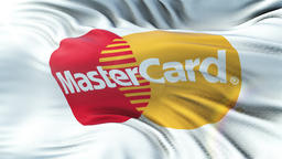 MASTERCARD flag waving on sun. Seamless loop with highly detailed fabric texture Animation