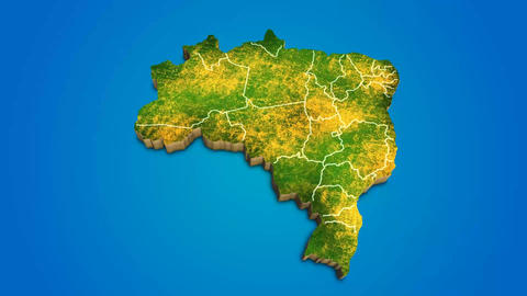 Brazil country map satellite camera zoom in sky effect shot visualization After Effects Template