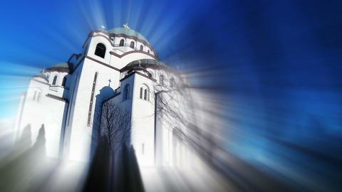 Saint Sava Temple In Belgrade Serbia. Bursting Blurring Light Rays Archivo