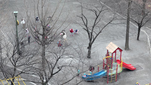 School Children Playing And Exercising In City Park Tokyo Japan GIF