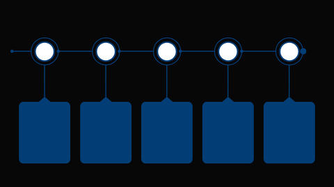 Flowchart diagram with 5 step in blue color. Infographic timeline. Alpha channel Animation