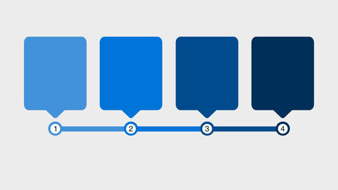 Flowchart infographic template with 4 square and step in blue color. Alpha Animation