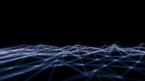 3D White Wireframe Grid Landscape Graphic Element Loopable Animation