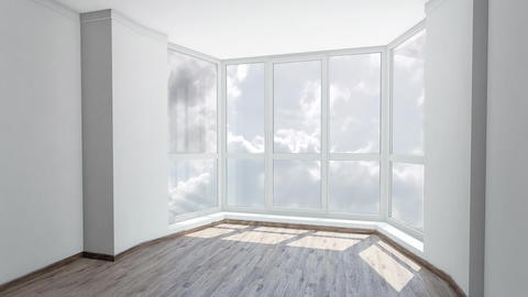 Bay window in empty room with view on cloudy sky. Background plate, chroma key Footage