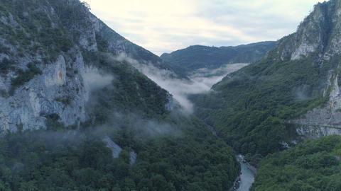 Pre-dawn aerial view of the Tara River canyon 영상물