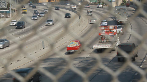 LA Freeway Fence Foreground Footage
