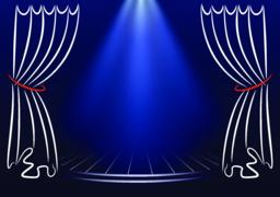 Scene with curtains and spotlights. Announcement vector template ベクター