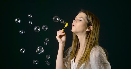 Pretty Woman Blowing Bubbles Slow Motion Live Action