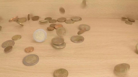 European Currency Coins Dropped On Wooden Plank Footage
