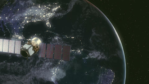 Modern satellite in orbit around Earth Footage