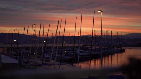 Sunset over marina 영상물
