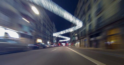 Driving after dark through the streets of Barcelona Footage