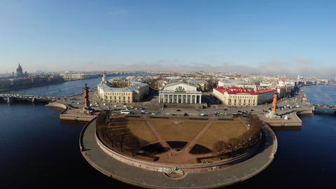 Aerial view. Stock exchange building in St. Petersburg. Rostral columns. 4K Footage
