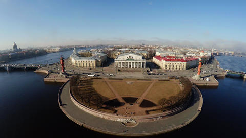 Aerial View. Stock Exchange Building In St. Petersburg. Rostral Columns. 4K stock footage