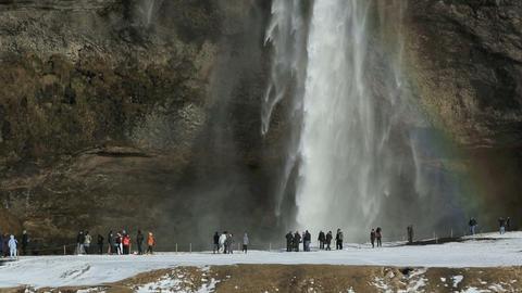 Waterfall Seljalandsfoss with rainbow Footage