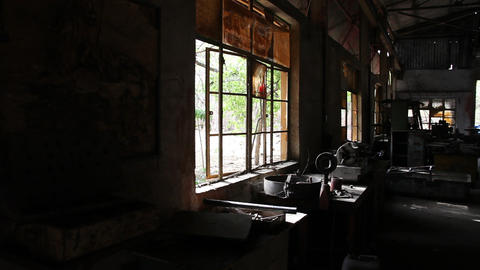 Interior of old factory Footage