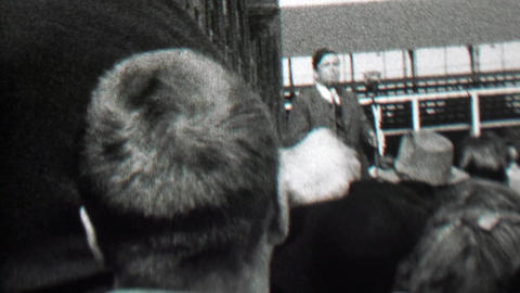 1939: Political leader addressing audience rally crowd speech Footage