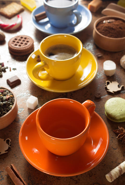 cup of coffee, tea and cacao at Photo