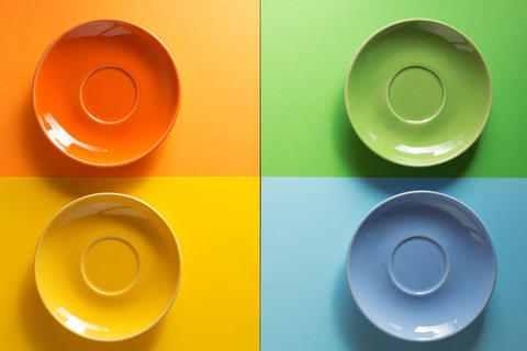 empty plate at colorful background Photo