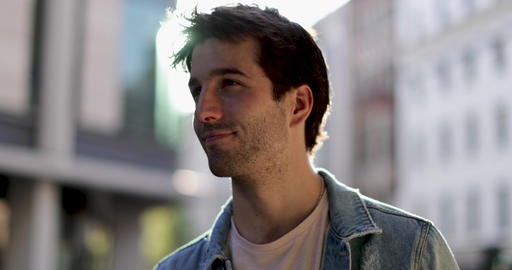 Portrait of young adult male looking to camera Footage