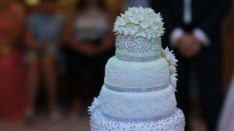 Wedding Cake is ready for cutting and eating by couple in love 영상물