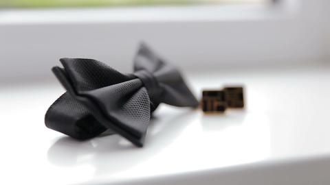 Wedding cufflinks and bow tie close up 영상물
