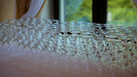 Glassware macro close up. Rims of empty glasses set for sparkling wine prepared ビデオ